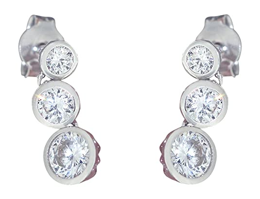 Glittering Cubic Zirconia Stud Earring 585 Gold with Hobra Gold-Weiss - Gold Earrings Stecker Weiss