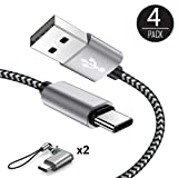 USB Type C Cable, USB C Cable 4Pack with 2 Micro USB to USB C Adapter 1ft 3ft 6ft Braided USB C to USB A Charger Fast Charging Syncing Cords Compatible Samsung Galaxy S9 S8,Google Pixel,LG V20–Black (Color: gray black 1ft 3ft 6ft, Tamaño: 6 Feet)