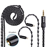FDBRO 8-core Earphone Upgrade Cable CD Texture Plug Replacement Cable Detachable Ear-Hook Type OFC Silver Plated Earphone Cable for UM3X ES3 ES5 W4R ZS5 ZS6 ZS10 ZST ZSR (0.78mm 2PIN, Black+2.5mm) (Color: Black+2.5mm, Tamaño: 0.78mm 2PIN)