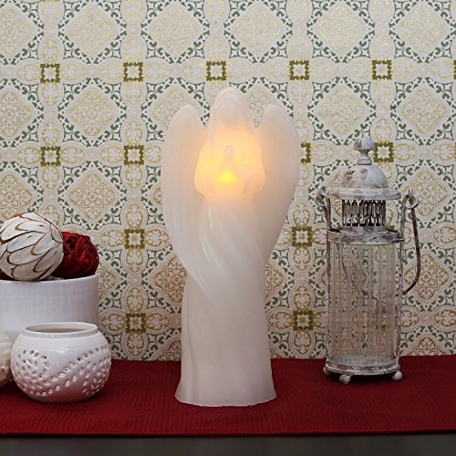 """Candle Impressions 13"""" Glittering Praying Angel Flameless Wax Led Battery Operated Candle With Programmable Timer"""