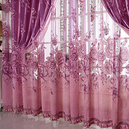 Living Room Curtains amazon living room curtains : Buy Generic 250*100cm Peony Beads Voile Curtain Living Room Window ...