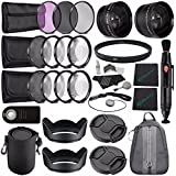 72mm 2x Telephoto Lens With Pouch + 72mm Wide Angle Lens + 72mm 3 Piece Filter Set (UV, CPL, FL) + LENS CAP 72MM...