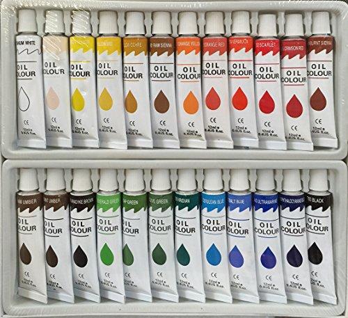 24 PC OIL Paints Set Professional Artist Painting Pigment 12ml Tubes (Oil Paint Sets compare prices)