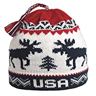 Vermont Originals - USA Moose, American Made Wool Winter Hat, Navy
