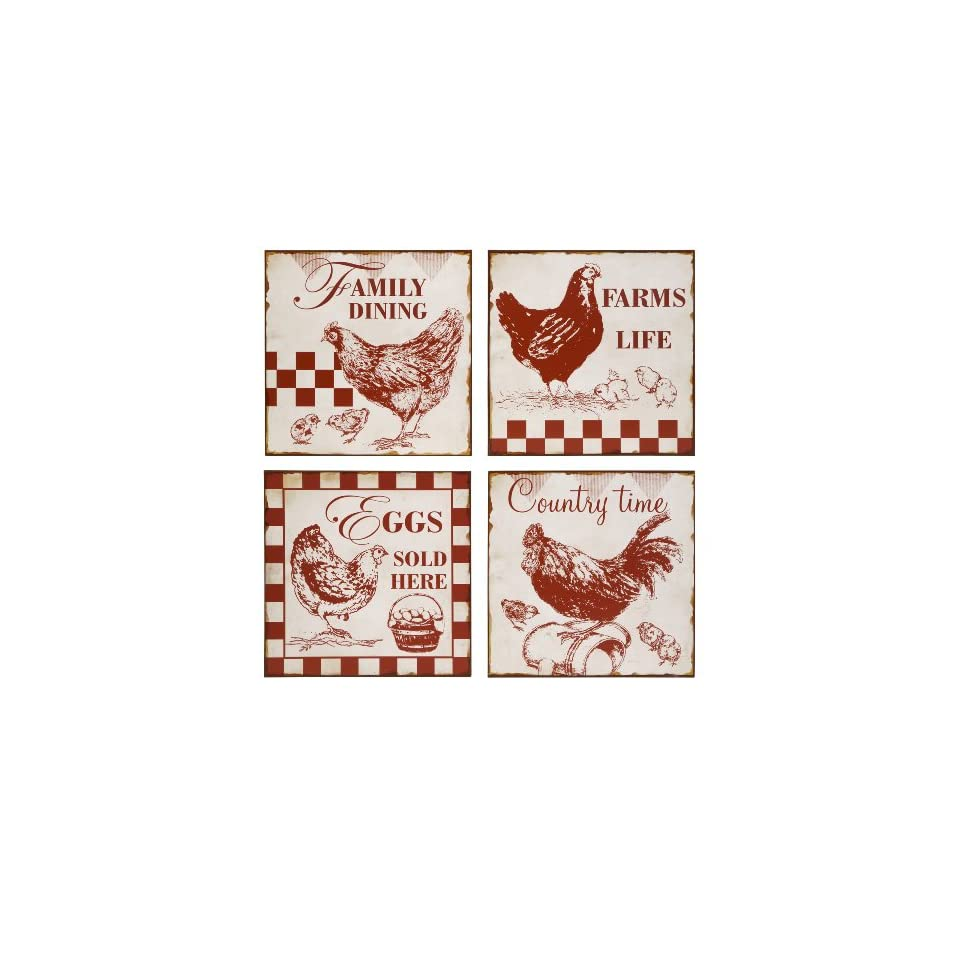 Vintage Cafe Chicken Signs Wall Decor  Set of 4