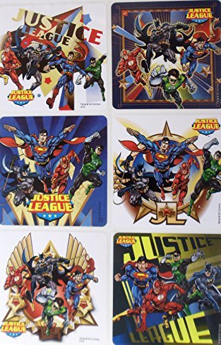 "JUSTICE LEAGUE - Justice League Birthday Party Favor Sticker Set Consisting of 45 Stickers Featuring 6 Different Designs Measuring 2.5"" Per Sticker - 1"