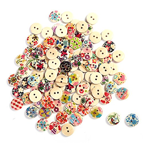 2013newestseller Wholesale Lots 100 Pcs Colourful Round Wood Buttons Sewing Scrapbooking (Buttons For Clothes compare prices)