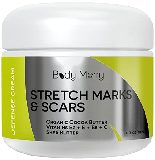 Stretch Marks and Scars Cream - Best Body Moisturizer to Prevent and Reduce Old & New Marks - Natural & Organic for Pregnancy - Also for Men - 4 oz - By Body Merry