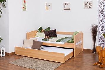 """Einzelbett / Stauraumbett """"Easy Möbel"""" K1/s Voll inkl. 2. Liegeplatz und 2 Abdeckblenden, 90 x 200 cm Buche Vollholz massiv Natur"""
