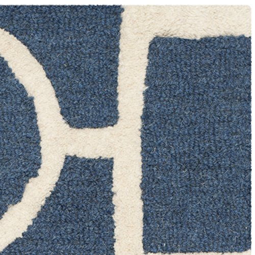 Safavieh Cambridge Collection CAM143G Handmade Navy Blue and Ivory Wool Area Rug, 2 feet by 3 feet (2' x 3')