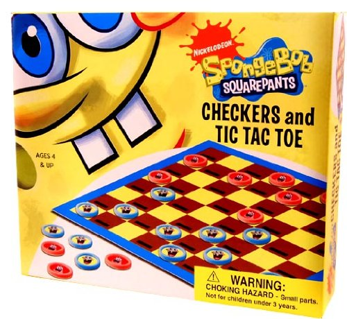 Nickelodeon Checkers & Tic Tac Toe Game Spongebob - 1
