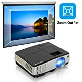 Portable Video Projector-Full HD 1080p Support Multimedia HDMI LCD Home Projector Mini with 130 Inch Projection Size for TV MacBook PC Laptop DVD Player PS4 Xbox Games (Color: mini lcd projector)