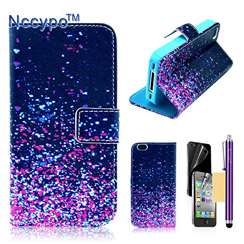 iPhone 4 Case, iPhone 4S Case, Nccypo Premium PU Leather Magnet Wallet Slim Protective Case For Apple iPhone 4/4S[Unique Purple Blue Spots Design] with Stylus, Screen Protector and Cleaning Cloth image