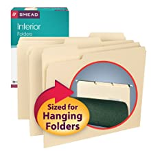 Smead Folder, Letter, Interior, 1/3 Cut Tab, Manila, 100 Per Box (10230)