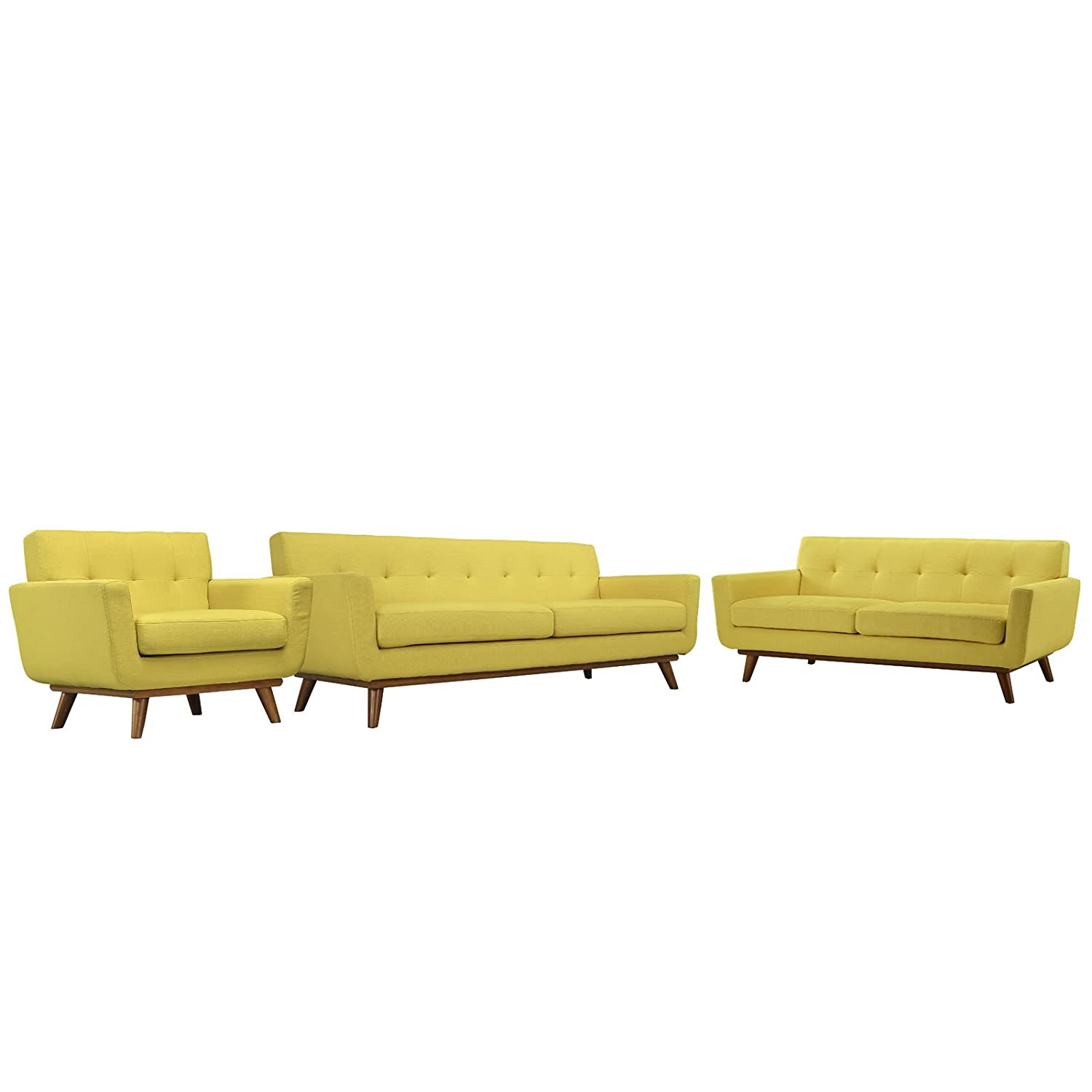 Modern Contemporary Sofa Loveseat and Armchair (set of three) - Yellow Fabric