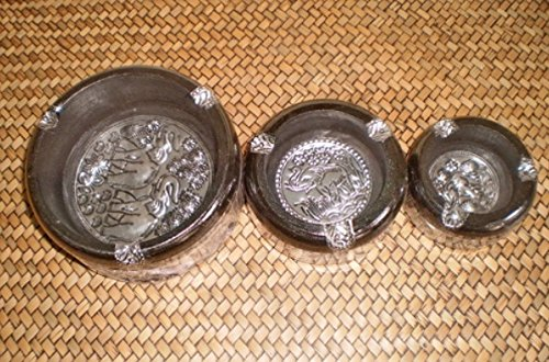 3 Pcs. Set Thai Wood Ashtray with Silver Carving Home Decor
