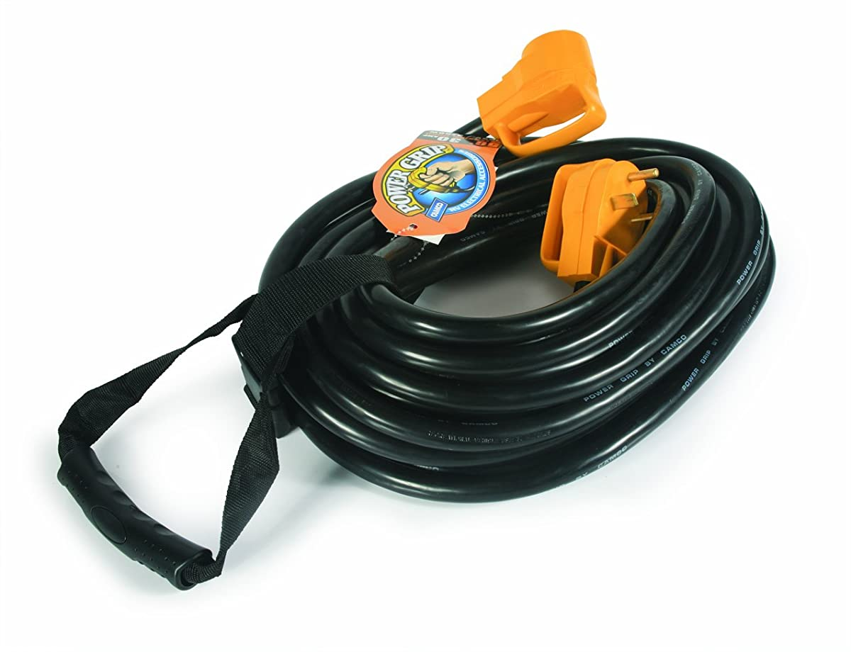 Camco Heavy Duty RV Auto Extension Cord with PowerGrip Handle, Includes Convenient Carrying Strap - 50ft (10 Guage, 30 Amp) (55197)