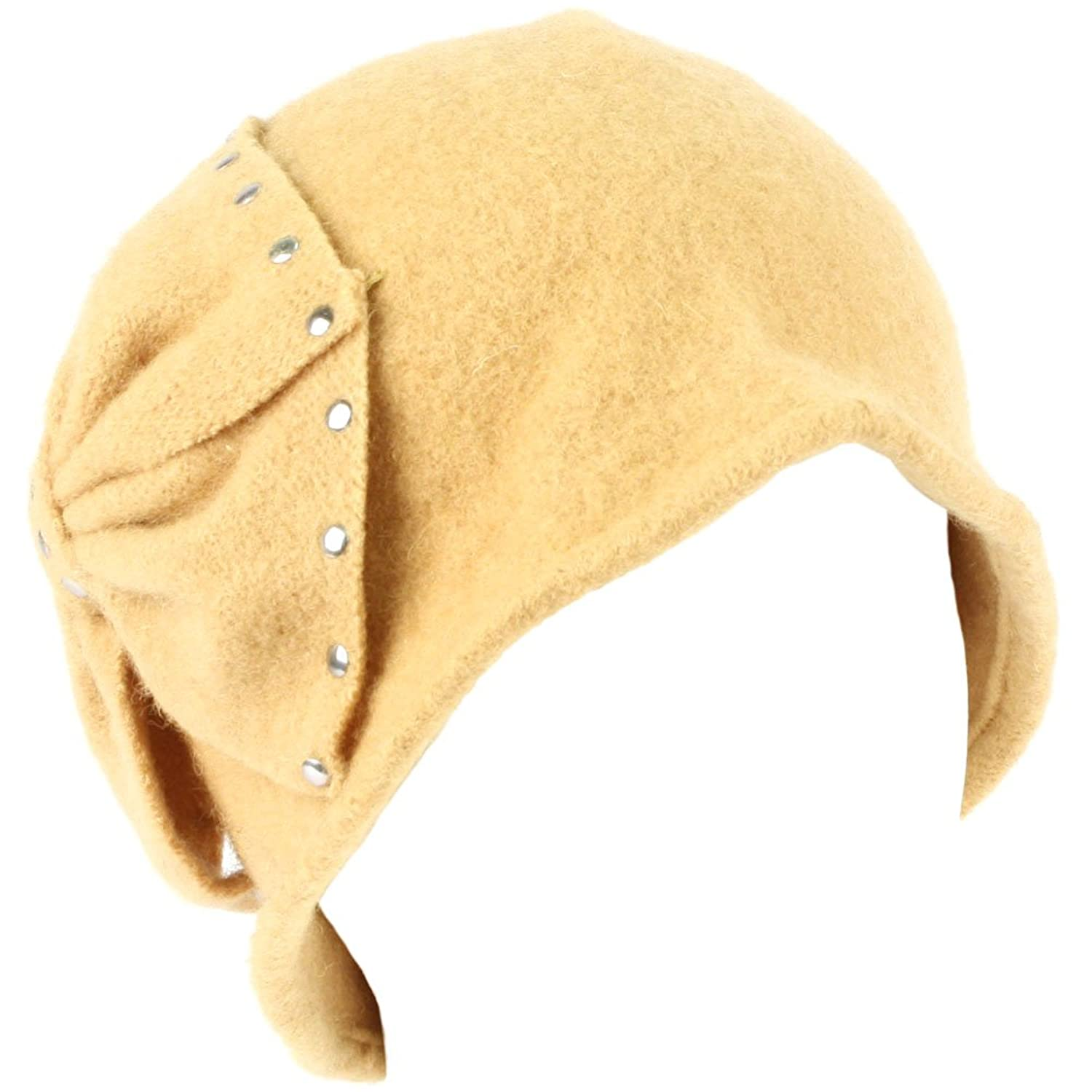 Wool Winter Cloche Crushable Foldable Bucket Big Studded Bow Church Hat Camel vintage checked pattern wool felt bucket hat