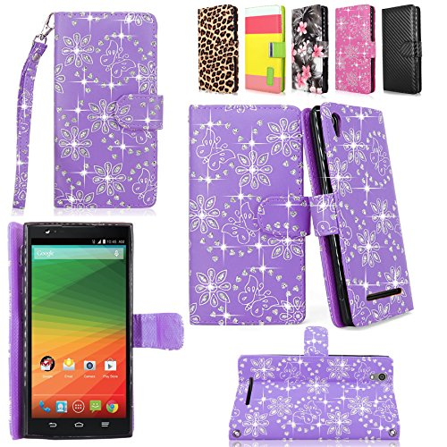 ZTE ZMAX - Cellularvilla Pu Leather Wallet Card Flip Open Pocket Case Cover Pouch For ZTE ZMAX Z970 (T-Mobile) (Purple Glitter) (Zte Zmax Phone Case T Mobile compare prices)