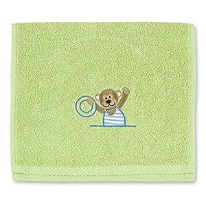Sterntaler 7161400 niños toalla toalla absorbente particularmente con el mono bordado Anton, verde - BebeHogar.com