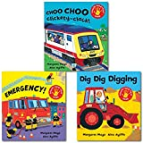 Margaret Mayo Awesome Engines Collection 3 Books Set Pack, (Touch and Feel Books), (Dig Dig Digging, Choo Choo Clickety-Clack! and Emergency!)