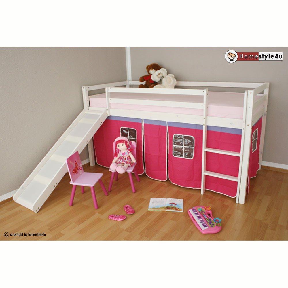 Homestyle4u Hochbett Kinderbett Spielbett Kinderhochbett weiß mit Lattenrost Vorhang günstig online kaufen