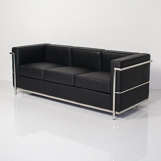 GROUP DESIGN divano Cubo nero in ecopelle e metallo comodo ed economico