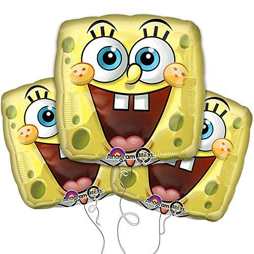 "Yellow Spongebob Face 18"" Mylar Balloon 3pk"