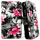 myLife White and Black {Pink Hawaiian Flowers Design} Faux Leather (Card, Cash and ID Holder + Magnetic Closing) Slim Wallet for Galaxy Note 3 Smartphone by Samsung (External Textured Synthetic Leather with Magnetic Clip + Internal Secure Snap In Closure Hard Rubberized Bumper Holder)