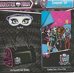 Monster high sleepover set slumber sack tote bag eye mask toys games - Masque monster high ...