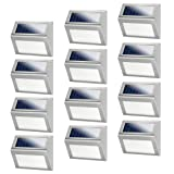JSOT 12 Pack Solar Powered Deck Lights Wireless Bright LED Stair Lights Auto On/Off Waterproof Stainless Steel Decorative Outdoor Step Lighting for Driveway Fences Pathway Staircase (White Light) (Color: White - 12 Pack)
