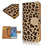 iPhone 5 5S case Leopard Print, Umiko(TM) Leopard Skin Design Wallet Case for iPhone 5 5S Suit for Teen Girls Flip Leather Cover Folio Pouch Bling Crystal Magnetic Clasp Card Slot-Brown