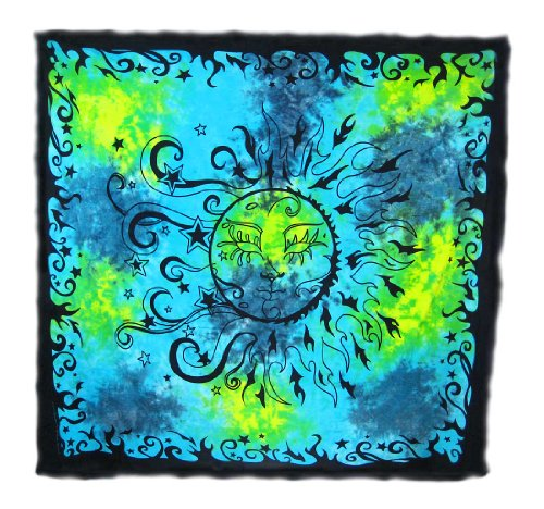Celestial Sun And Moon Tie Dye Tapestry/Bedspread front-932370