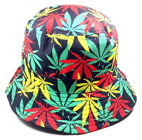 Reversible-Rasta-Marijuana-Weed-Leaf-Black-Bucket-Hat