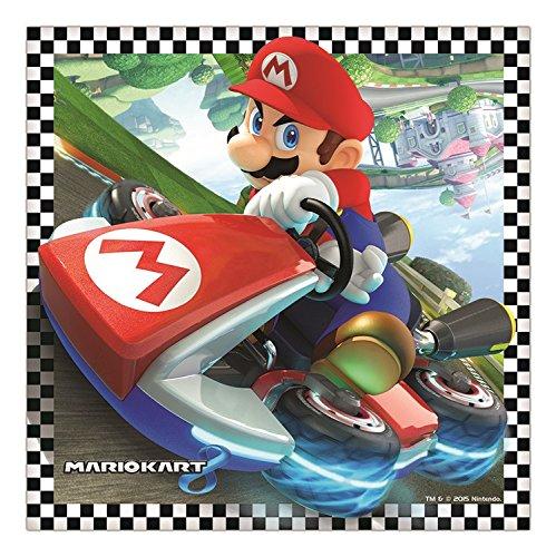 16 Serviettes de fête en papier 33cm - Super Mario Kart