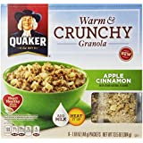 Quaker Warm and Crunchy Cereal, Apple Cinnamon, 8-1.69oz packets (Pack of 6)