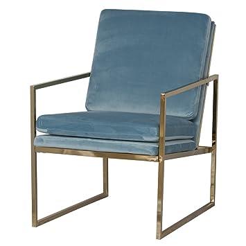"""Fauteuil """"Bayonne"""" en cuivre plaqué or Finition Cadre en acier et bleu ciel en velours Tissu d'ameublement–Design scandinave par Emma Bruket de la Suède"""