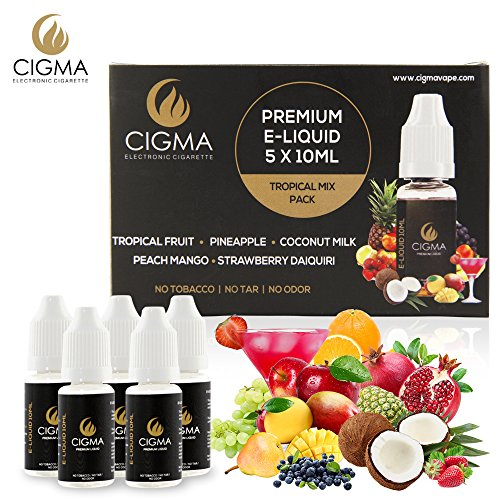CIGMA 5 X 10ml E-Liquid Tropical Pack,0mg (Ohne Nikotin) Cola Smoothie, Ananas, Wassermelone, Mango Smothie, Zitrone Soda, Neue Premium Qualität mit hochwertigen Zutaten, VG & PG Mix