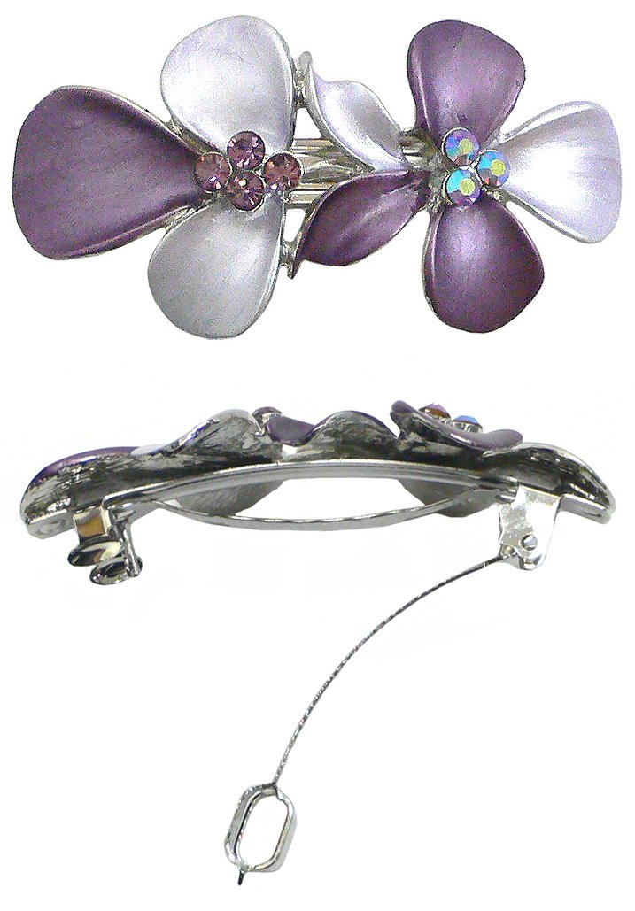 Crystal Flower Barrette NF86300-GL8 france luxe oblong on long and skinny barrette itsy daisy