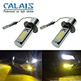 Calais Extremely Bright LED H3 COB Chips 30W Golden Color LED Fog Light Bulbs Plug-n-Play(pack of 2) (Tamaño: H3)