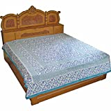 Floral Block Print Handmade Cotton Bed Sheet Linen Cotton Queen Size from India ~ DakshCraft