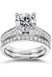 Forever Brilliant Round Moissanite & Diamond Bridal Set 2 1/3 Carat (ctw) in 14k White Gold