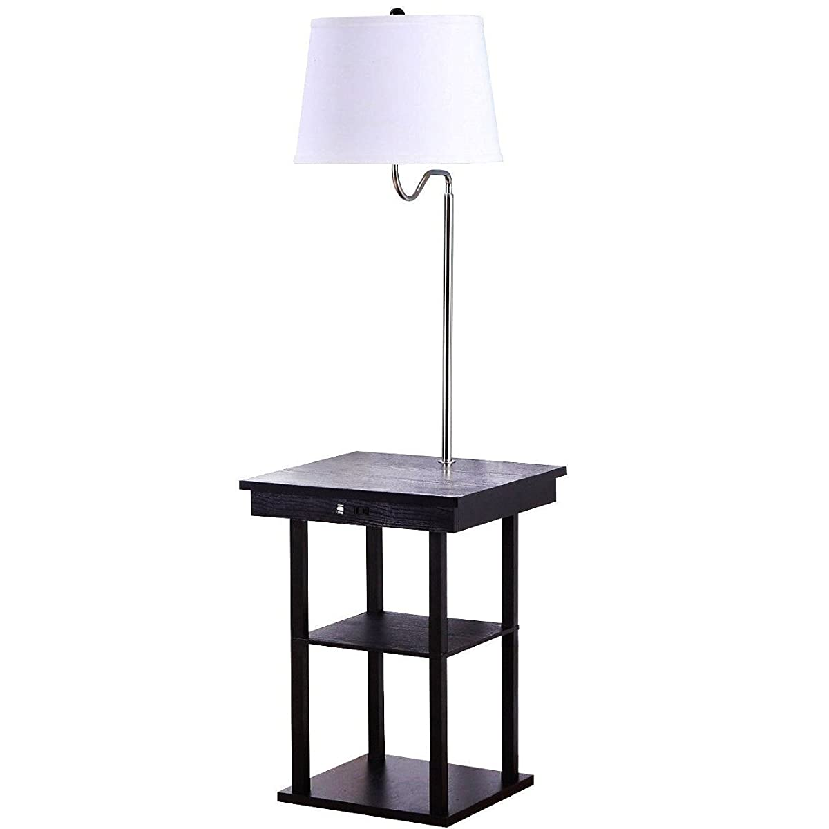 End Table With Built In Lamp - Brightech madison led floor lamp with built in black table and shelf multi purpose