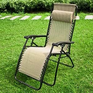 Chaise longue bain de soleil, chaise de jardin, chaise de camping, transat métal et toile, inclinable pliable OGS06 + un supporte plastique gobelet gratuit!