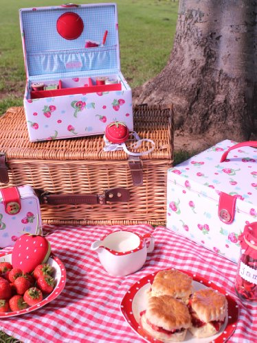 BUTTON IT Strawberries and Cream Strawberry Printed Starter Kit with Blue Gingham Lining