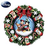 Disney Mickey, Minnie And Pluto Let It Snow Snow Dome Musical Wreath: Lights Up! by The Bradford Exchange