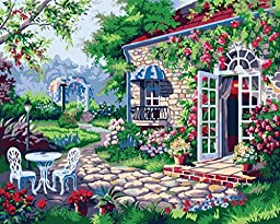 [ New Release ] Diy Oil Painting by Numbers, Paint by Number Kits - Courtyard 16*20 inches - Digital Oil Painting Canvas Wall Art Artwork Landscape Paintings for Home Living Room Office Christmas Decor Decorations Gifts - Diy Paint by Numbers Diy Canvas K