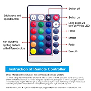 Smart Wireless Wi-Fi Controller RGBW with 24 Keys Romote Control,Compatible with Alexa and Google Assistant,No HUB Required (Only Wi-Fi Controller) (Color: Only Wifi Led Controller)