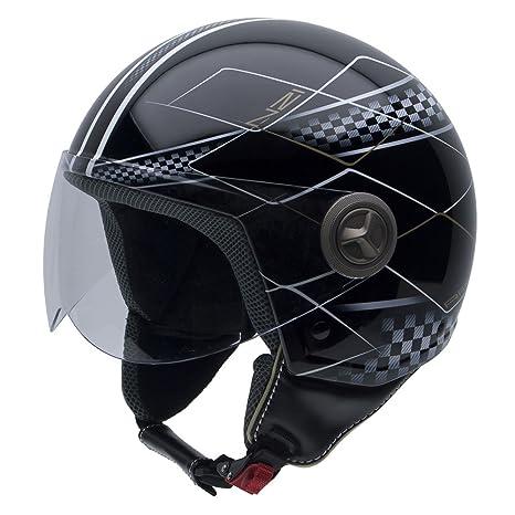 NZI 050004G600 Vintage II Race Casque de Moto, Noir/Blanc/Gris, Taille : XL
