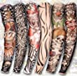 Outop 6pcs Temporary Fake Slip on Tattoo Arm Sleeves Stockings